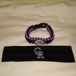 Colorado Rockies Headband & Bracelet Set